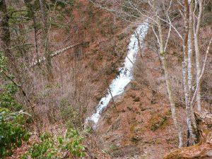 現在の登山道状況です。三頭大滝の凍結状況
